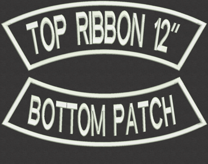 """Picture of Custom Embroidered Arch Rocker Set - 12"""" x 2.5"""" for Biker"""