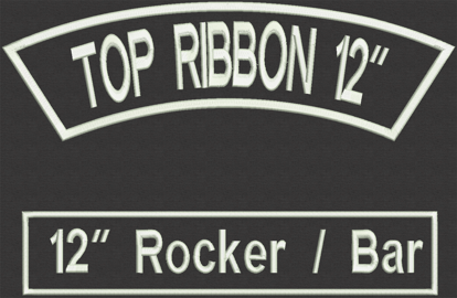 """Picture of Custom Embroidered  - 12"""" x 2.5"""" for Biker Top Rocker and Straight Bottom Rocker"""