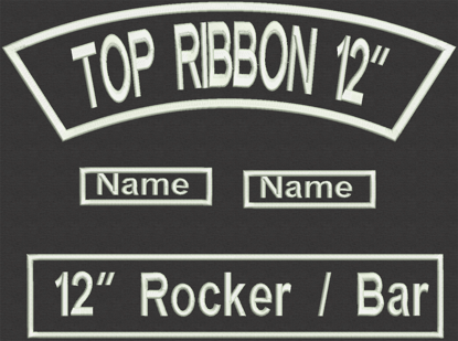 """Picture of Custom Embroidered  - 12"""" x 2.5"""" for Biker Top Rocker and Straight Bottom Rocker with 2 names"""